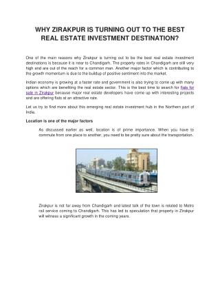 Reasons to invest for Residential Apartments in Zirakpur