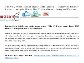 The US Jewelry Market Report 2015 Edition – Worldwide Industry Research, Analysis, Shares, Size, Trends, Growth, Survey