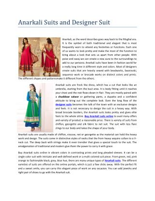 Anarkali suits and designer suit