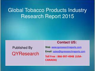 Global Tobacco Products Market 2015 Industry Shares, Forecasts, Analysis, Applications, Trends, Growth, Overview and Ins