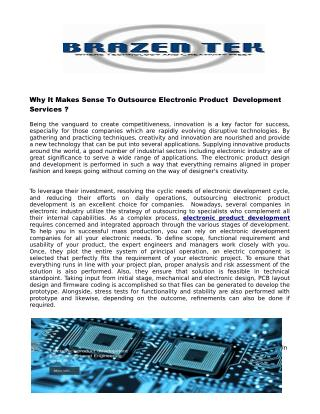 Why It Makes Sense To Outsource Electronic Product Development Services ?