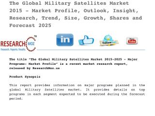Global Military Satellites Market 2015 - Market Profile, Outlook, Insight, Research, Trend, Size, Growth, Shares and For