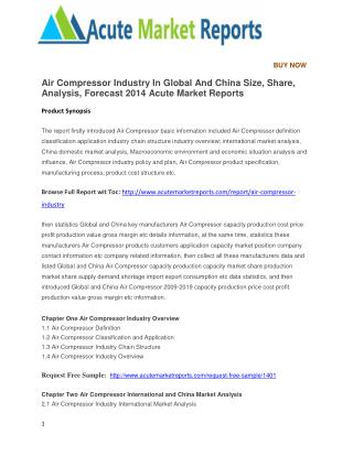 Air Compressor Industry In Global And China Size, Share, Analysis, Forecast 2014 Acute Market Reports