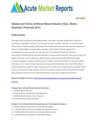 Global and China Artificial Blood Industry Size, Share, Analysis, Forecast 2014