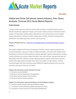 Global and China Cell phone camera Industry, Size, Share, Analysis, Forecast 2014 Acute Market Reports