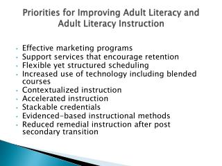 Priorities for Improving Adult Literacy and Adult Literacy Instruction