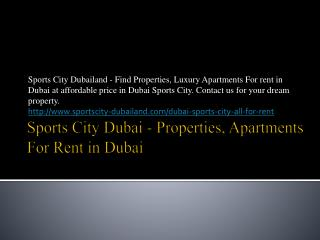 Sports City Dubai - Sports City Apartments for Sale