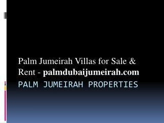 Palm Jumeirah Properties - Palm Jumeirah Dubai