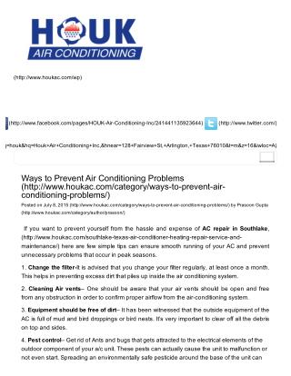 Ways to Prevent Air Conditioning Problems