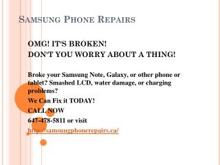 Samsung screen repair service| samsung repair mississauga