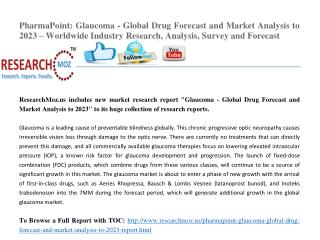 PharmaPoint: Glaucoma - Global Drug Forecast and Market Analysis to 2023 – Worldwide Industry Research, Analysis, Survey