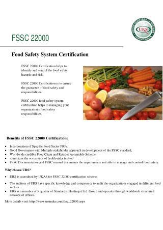 Fssc 22000 certification by ursindia