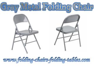 Gray Metal Folding Chair -Folding Chairs Tables Larry