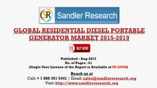 World Residential Diesel Portable Generator Market to Grow at 8% CAGR to 2019 Says a New Research Report