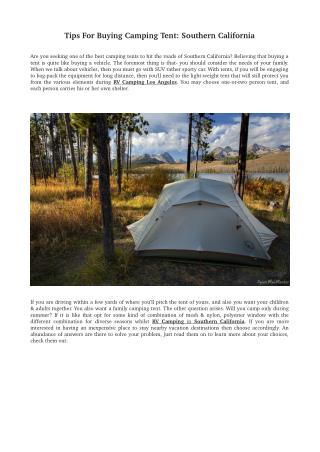 Tips For Buying Camping Tent: Southern California