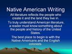 Native American Writing