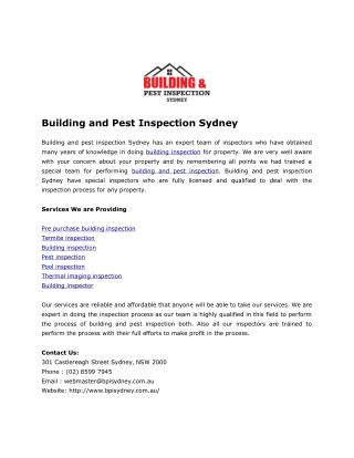 Pest Inspection and Buidling Inspection Service Sydney