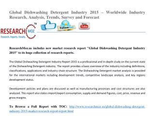 Global Dishwashing Detergent Industry 2015 Market Research Report