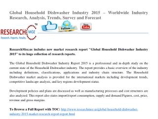 Global Household Dishwasher Industry 2015 – Worldwide Industry Research, Analysis, Trends, Survey and Forecast