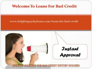 Loans for bad credit@ www.dolphinpaydayloans.com