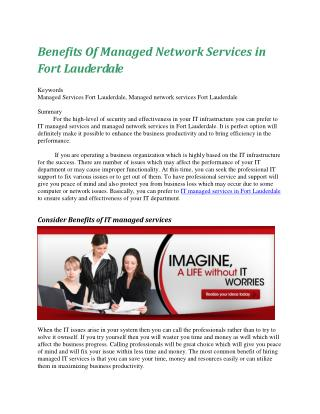 Benefits Of Managed Network Services in Fort Lauderdale