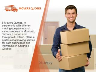 5 Movers Quotes | Find a mover in your city (Canada)