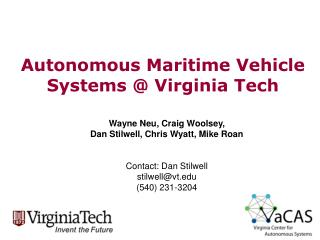 Autonomous Maritime Vehicle Systems @ Virginia Tech