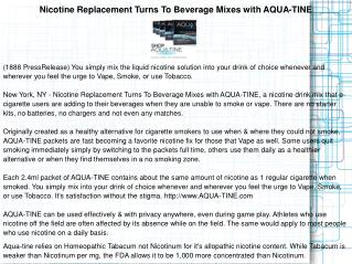 Nicotine Replacement Turns To Beverage Mixes with AQUA-TINE