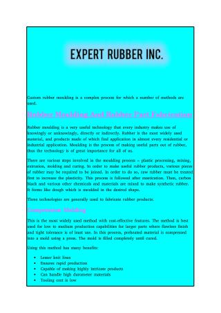 Rubber Moulding And Rubber Part Fabrication
