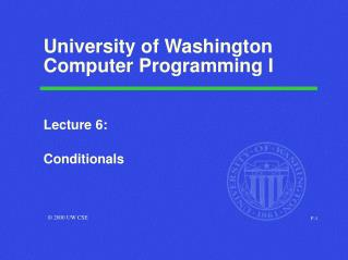 University of Washington Computer Programming I