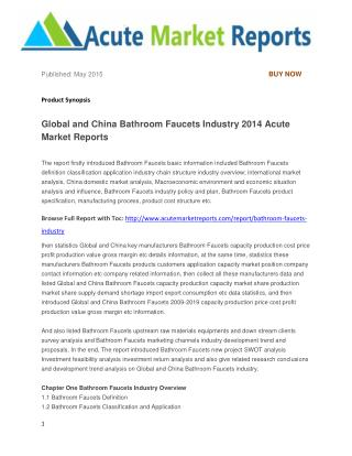 Global and China Bathroom Faucets Industry 2014 Acute Market Reports