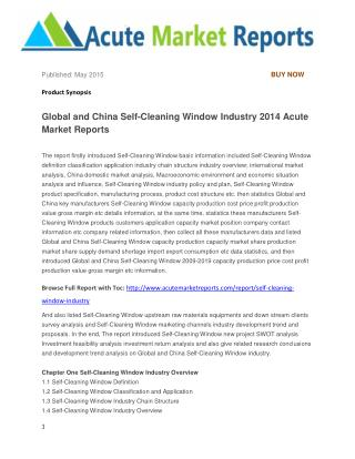 Global and China Self-Cleaning Window Industry 2014 Acute Market Reports