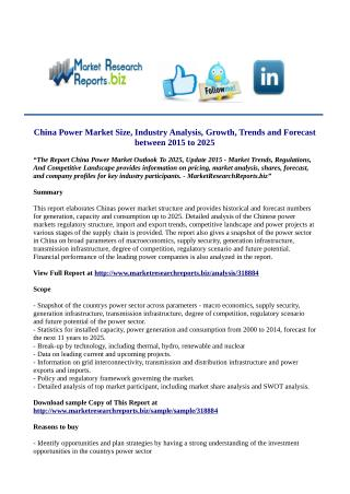 China Power Market Outlook To 2025, Update 2015 By MarketResearchReports.Biz