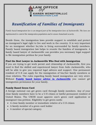 Reunification of Families of Immigrants