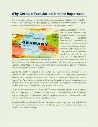 German translation services by Translation India