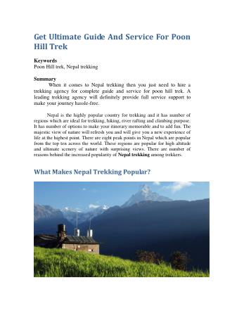 Get Ultimate Guide And Service For Poon Hill Trek