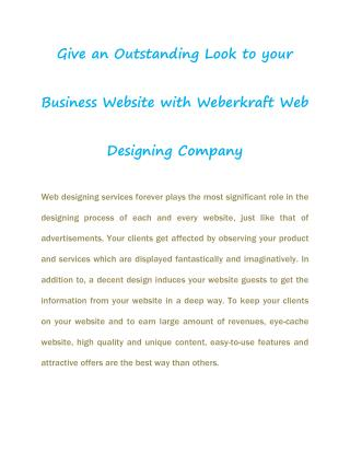 Business Website Design with WeberKraft