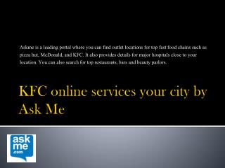 KFC online services your city by Ask Me