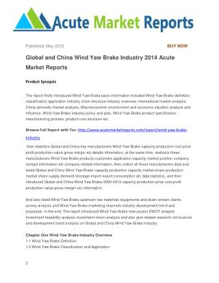 Global and China Wind Yaw Brake Industry 2014 Acute Market Reports