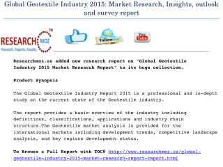 Global Geotextile Industry 2015 Market Research Report