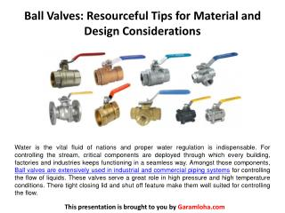 Ball Valves: Resourceful Tips for Material and Design Considerations