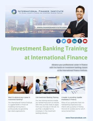 Finance and Investment Banking Training