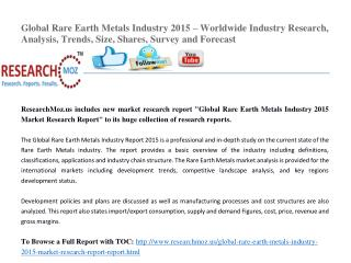 Global Rare Earth Metals Industry 2015 Market Research Report