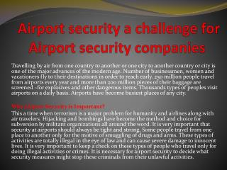Airport security a challenge for Airport security companies