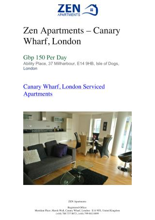 Furnished Apartments in london -Zen Apartments – Canary Wharf, London