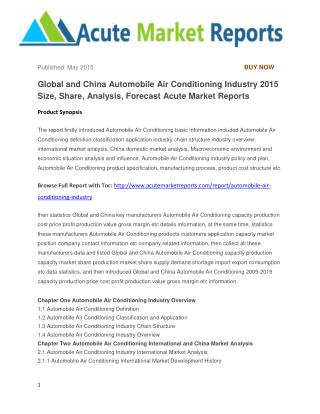 Global and China Automobile Air Conditioning Industry 2015 Size, Share, Analysis, Forecast Acute Market Reports