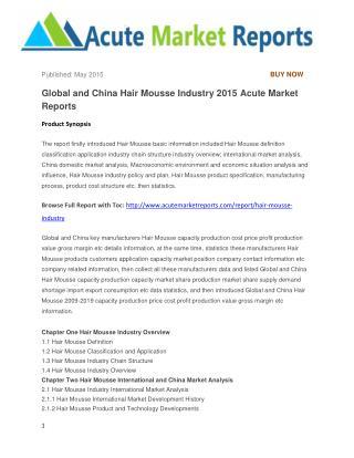 Global and China Hair Mousse Industry 2015 Acute Market Reports