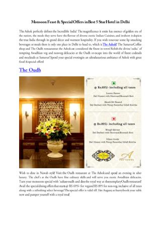 Monsoon Feast & Special Offers in Best 5 Star Hotel in Delhi