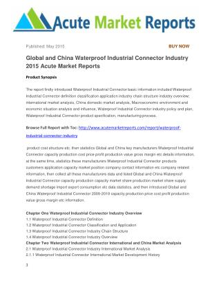 Global and China Waterproof Industrial Connector Industry 2015 Acute Market Reports