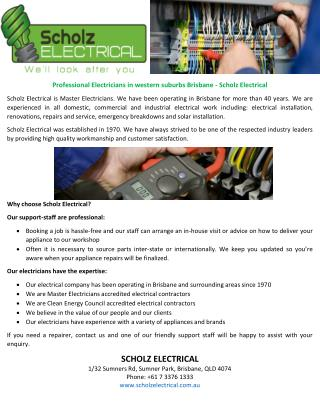 Professional electricians in western suburbs brisbane scholz electrical